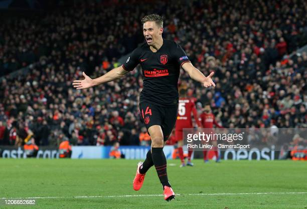 Atletico Madrid's Marcos Llorente celebrates scoring his side's second goal during the UEFA Champions League round of 16 second leg match between...