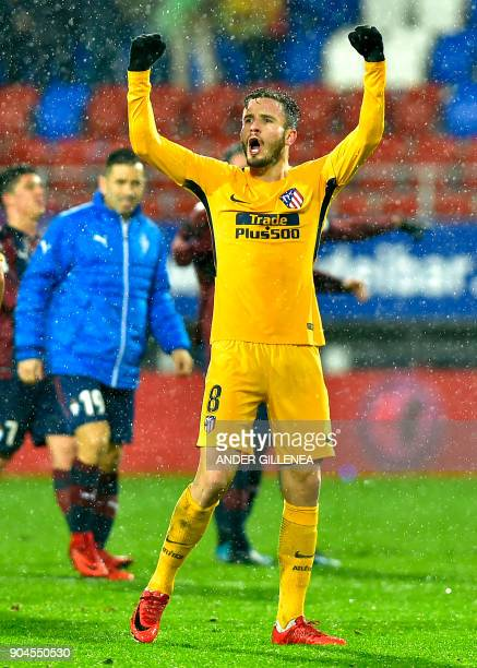 Atletico Madrid's midfielder Saul Niguez celebrates at the end of the the Spanish league football match between SD Eibar and Club Atletico de Madrid...