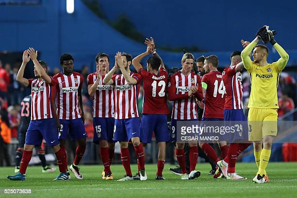Atletico Madrid's players acknowleges the crowd after the UEFA Champions League semifinal first leg football match Club Atletico de Madrid vs Bayern...