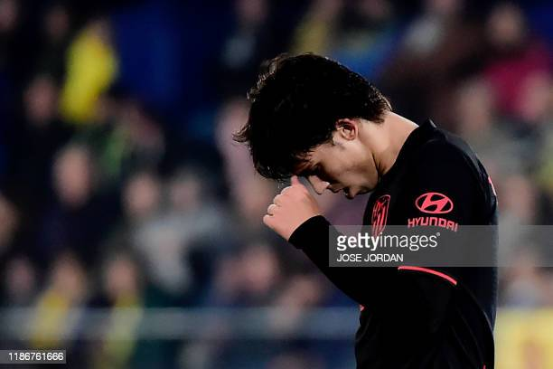 Atletico Madrid's Portuguese forward Joao Felix reacts during the Spanish league football between Villarreal CF and Club Atletico de Madrid at La...