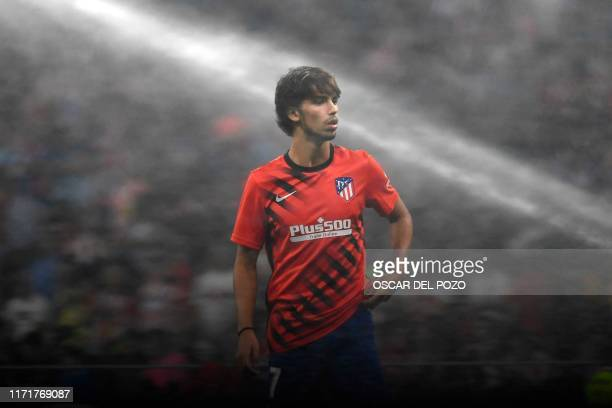 Atletico Madrid's Portuguese forward Joao Felix warms up before the Spanish league football match between Club Atletico de Madrid and Real Madrid CF...