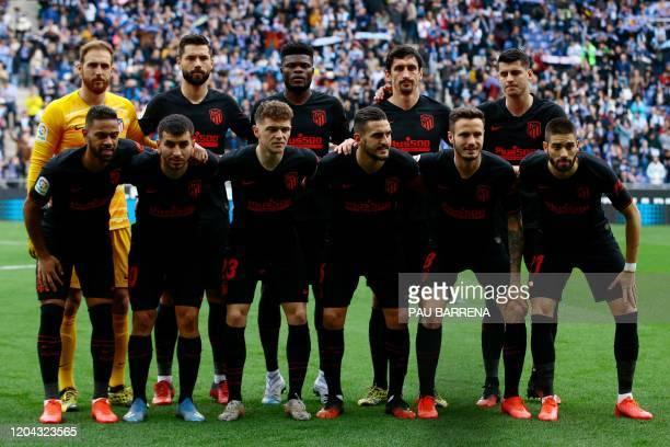 Atletico Madrid's Slovenian goalkeeper Jan Oblak, Atletico Madrid's Brazilian defender Felipe, Atletico Madrid's Ghanaian midfielder Thomas Partey,...