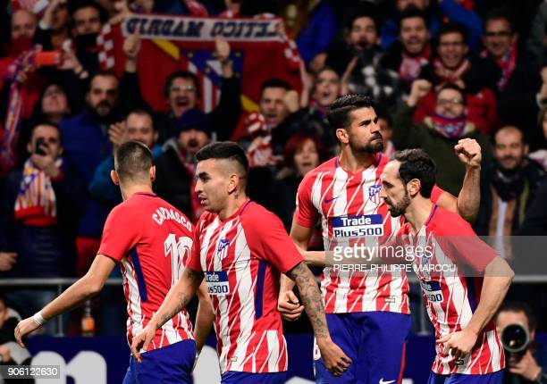 Atletico Madrid's Spanish forward Diego Costa celebrates a goal during the Spanish 'Copa del Rey' football match between Club Atletico de Madrid and...