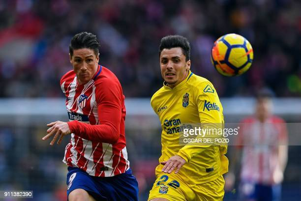 Atletico Madrid's Spanish forward Fernando Torres and Las Palmas's defender Ximo Navarro eye the ball during the Spanish league football match...
