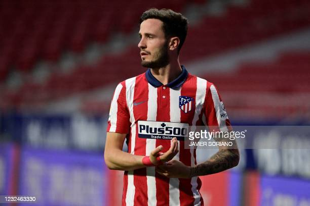 Atletico Madrid's Spanish midfielder Saul Niguez walks off the pitch during the Spanish League football match between Atletico Madrid and SD Huesca...