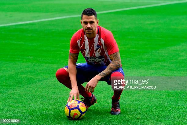 Atletico Madrid's Spanish midfielder Vitolo poses at the start of a training session following his official presentation at the Wanda Metropolitan...