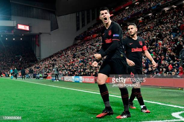 Atletico Madrid's Spanish striker Alvaro Morata reacts during the UEFA Champions league Round of 16 second leg football match between Liverpool and...