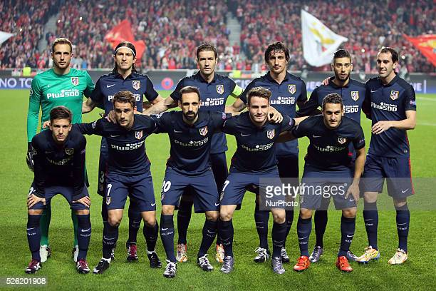Atletico Madrid's starter team before the UEFA Champions League Group C football match between SL Benfica and Atletico de Madrid at the Luz stadium...
