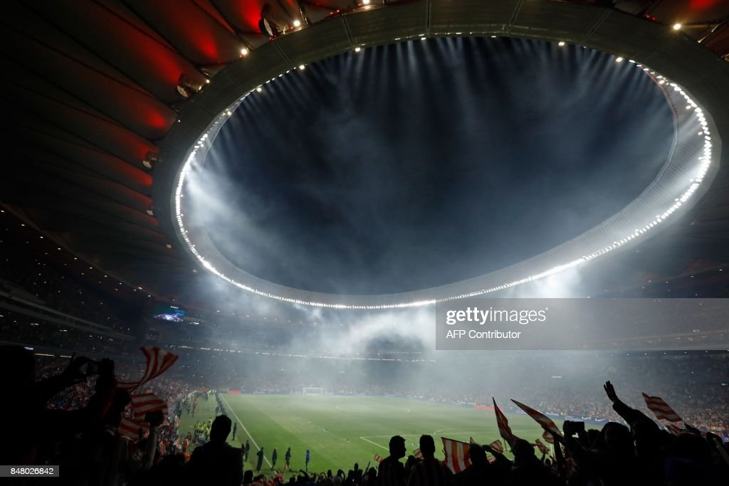 Atletico Madrid's supporters cheer during the inauguration of the Wanda Metropolitano stadium after the Spanish league football match Club Atletico de Madrid vs Malaga CF in Madrid on September 16, 2017. /