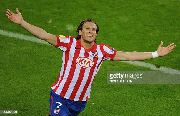 Atletico Madrid's Uruguayan forward Diego Forlan celebrates scoring during the final football match of the UEFA Europa League Fulham FC vs Aletico...