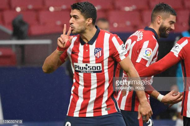 Atletico Madrid's Uruguayan forward Luis Suarez celebrates a goal during the Spanish league football match between Club Atletico de Madrid and Elche...
