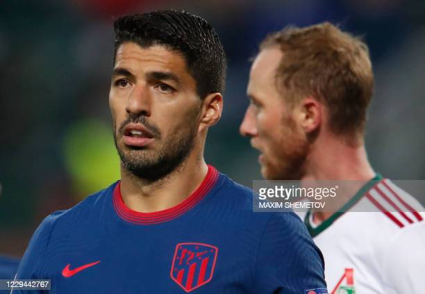 Atletico Madrid's Uruguayan forward Luis Suarez during the UEFA Champions League football match between Lokomotiv Moscow and Atletico Madrid in...