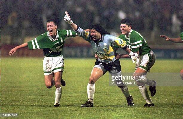 Atletico Nacional goalie Rene Higuita celebrates after he scored a goal with a free kick against River Plate of Argentina during a semifinal game of...