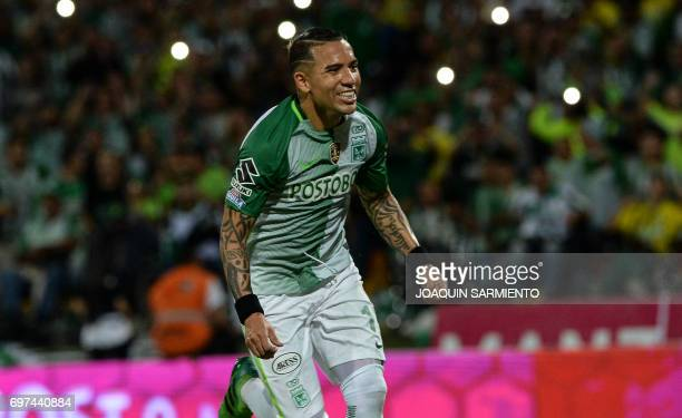Atletico Nacional's Dayro Moreno celebrates after scoring against Deportivo Cali during the Colombian Apertura football league final's second leg...