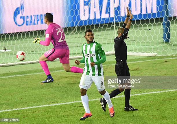 Atletico Nacional's forward Miguel Borja reacts after his goal against Club America during the penalty shootout after a 22 draw in the Club World Cup...