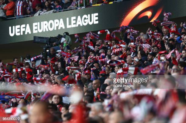 METROPOLITANO MADRID SPAIN Atletico supporters seen during the UEFA Europa League Semi Final Second Leg match between Atletico de Madrid and Arsenal...
