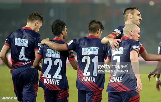 AtleticodeKolkata's forward Iain Edward Hume celebrates after scoring a goal against FC Pune City during the Indian Super League football match...