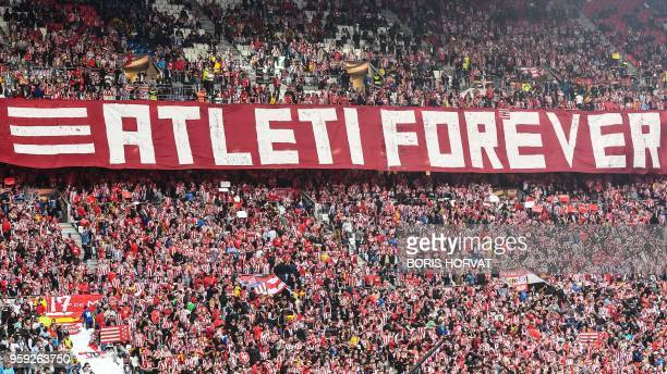 Atletico's fans display a banner during the UEFA Europa League final football match between Olympique de Marseille and Club Atletico de Madrid at the...