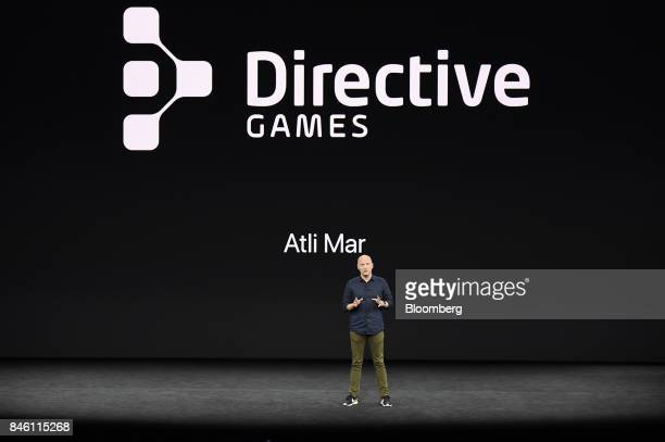 Atli Mar Sveinsson chief executive officer of Directive Games speaks during an event at the Steve Jobs Theater in Cupertino California US on Tuesday...