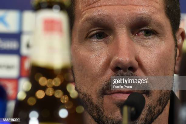 Atlético de Madrid's coach Diego Simeone attends a press conference ahead of Copa del Rey semifinal first leg match against FC Barcelona at Vicente...