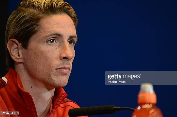 Atl��tico de Madrid's Fernando Torres attends a press conference ahead of UEFA Champions League semifinal first leg match against FC Bayern Muenchen...
