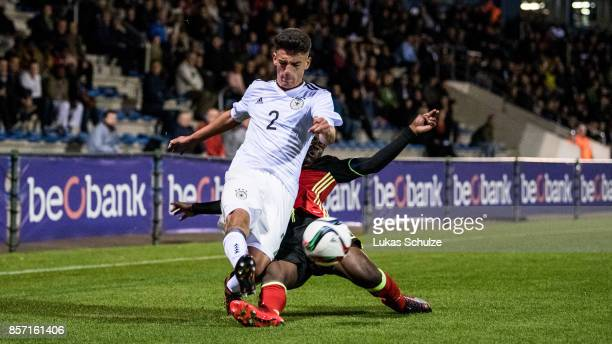 Atmir Krasniqi of Germany and Yannick Leliendal of Belgium fight for the ball during the friendly match between Belgium U16 and Germany U16 on...