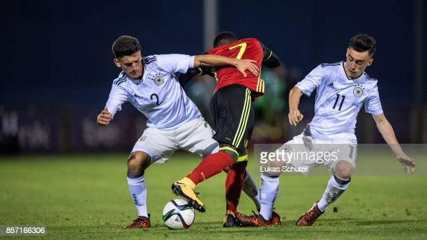 Atmir Krasniqi Pauk Nebel of Germany and Jeremy Doku of Belgium fight for the ball during the friendly match between Belgium U16 and Germany U16 on...