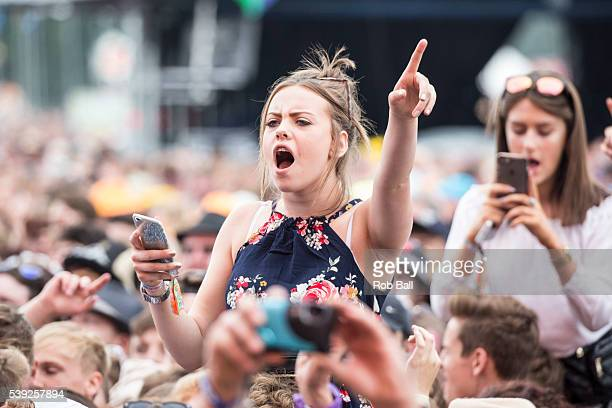 Atmosphere and crowd at the Isle Of Wight Festival 2016 at Seaclose Park on June 10 2016 in Newport Isle of Wight