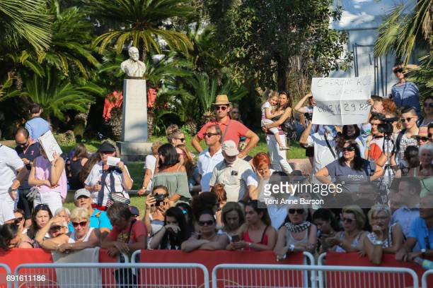Atmosphere around the red carpet at the 'Based On A True Story' screening during the 70th annual Cannes Film Festival at Palais des Festivals on May...