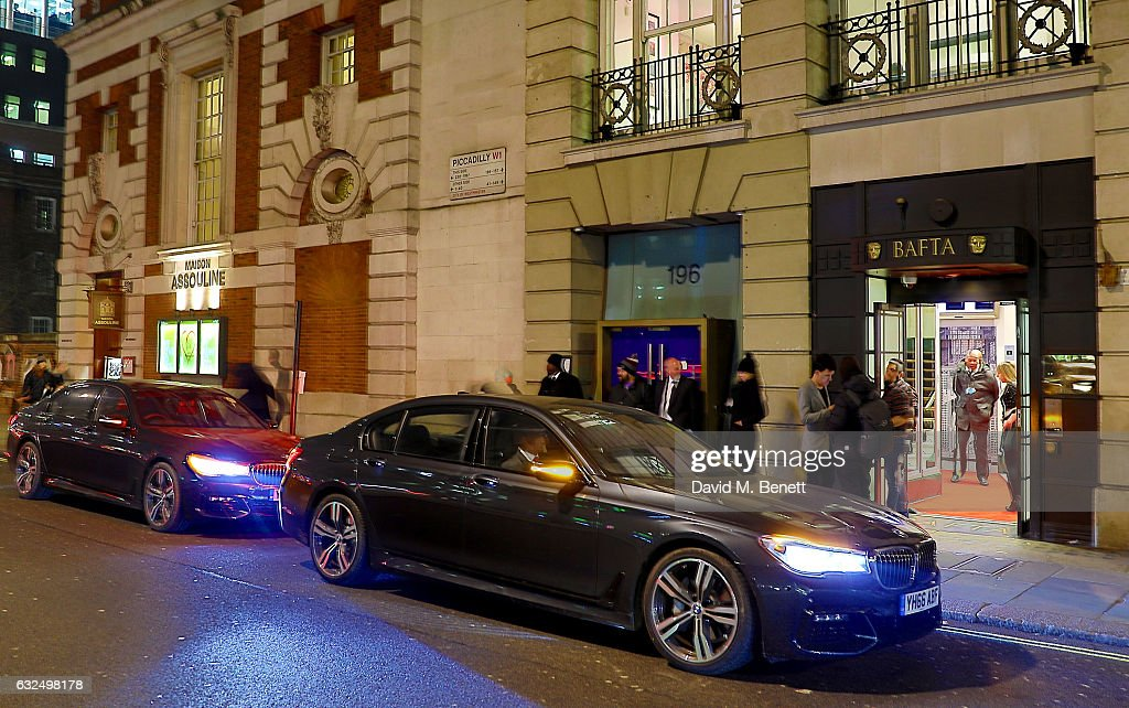 Atmosphere as guests arrive in style in the luxury BMW 7 Series at the Debrett's 500 Gala, at BAFTA on January 23, 2017 in London, England.