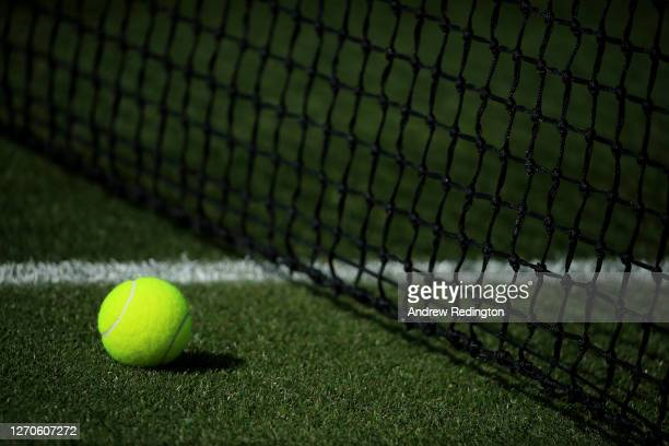 Atmosphere as London Mayor Sadiq Khan plays tennis with key workers at the All England Lawn Tennis Club at Wimbledon on September 04, 2020 in London,...