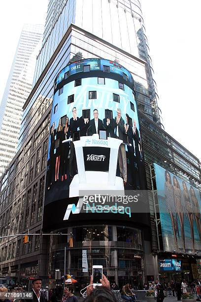Atmosphere as Variety EditorInChief Andrew Wallenstein rings the NASDAQ Closing Bell at NASDAQ MarketSite on April 30 2015 in New York City