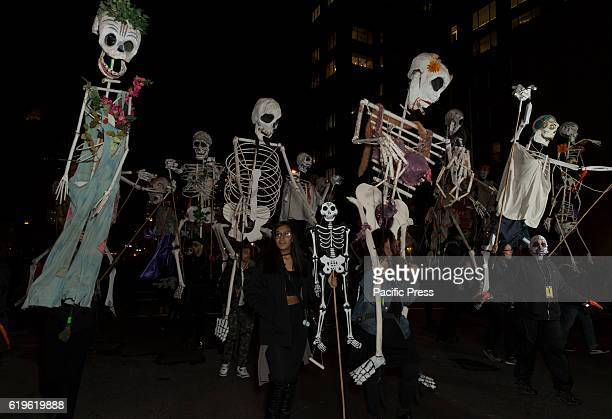 Atmosphere at 43rd annual Halloween parade in West village in New York to commemorate the annual All Soul's Day celebration