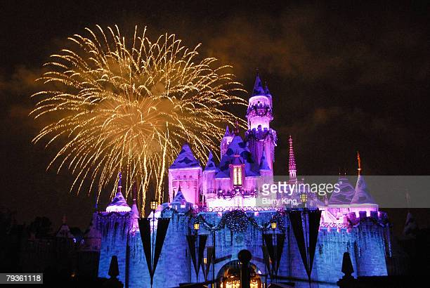 Atmosphere at Disneyland's Sleeping Beauty's Holiday Castle and Believe In Holiday Magic Fireworks spectacular held at Disneyland Resort on December...