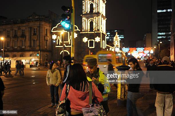 Atmosphere at night in the city center prior to Christmas Bogota formerly called Santa Fe de Bogota is the capital city of Colombia as well as the...