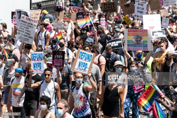 Atmosphere at queer liberation march and rally for black lives and against police brutality at Foley Square and Chambers street. Pride parade was...