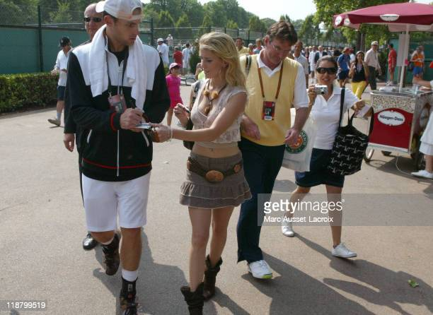 Atmosphere at Roland Garros the beginning of the Tennis French Open takes place on Sunday 27 May in Paris France Andy Roddick Sign autograph