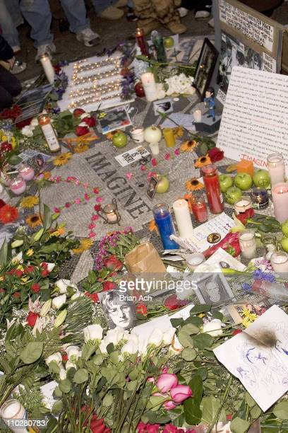 Atmosphere at Strawberry Fields in Central Park as people commemorate the death of John Lennon 25 years ago on December 8 2005 in New York City