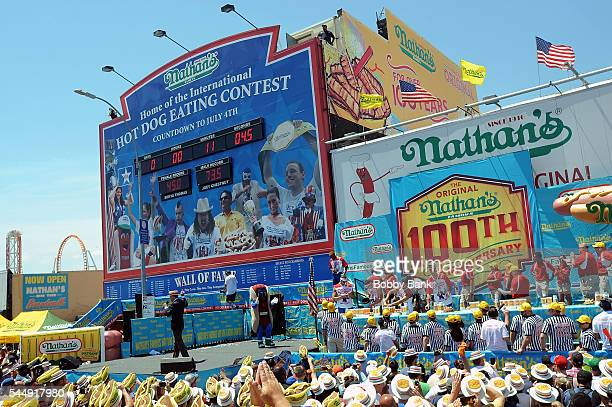 Atmosphere at the 2016 Nathans Famous 4th Of July International Hot Dog Eating Contest at Coney Island on July 4 2016 in New York City