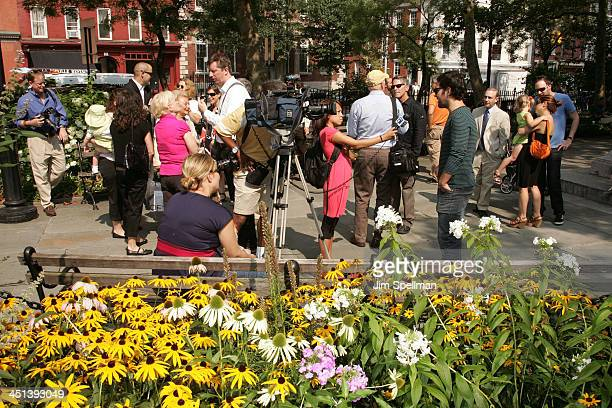 Atmosphere at the Adrienne Shelly Memorial Garden Dedication Ceremony at Abingdon Square Park on August 3 2009 in New York City