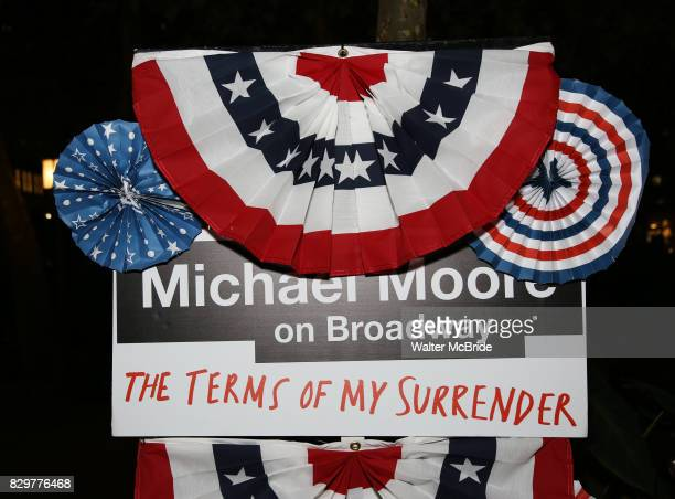 Atmosphere at the Broadway Opening Night After Party for Michael Moore's 'The Terms Of My Surrender' at Bryant Park Grill on August 10 2017 in New...