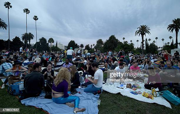 Atmosphere at the Cinespia Screening of 'Showgilrs' at the Hollywood Forever Cemetery on June 27 2015 in Hollywood California
