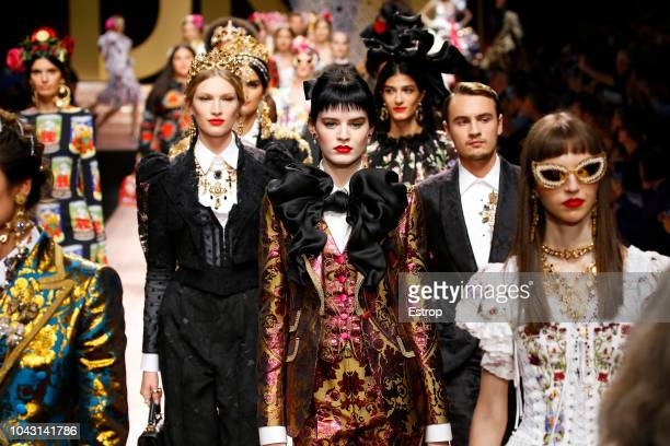 Atmosphere at the Dolce Gabbana show during Milan Fashion Week Spring/Summer 2019 on September 23 2018 in Milan Italy