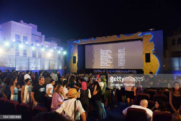 Atmosphere at the end of screening of the Egyptian movie 'Gunshots' at the 2nd El Gouna Film Festival on September 25, 2018 in Hurghada, Egypt. This...