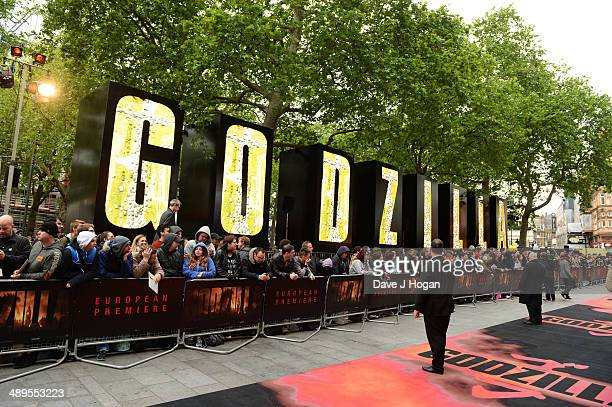 Atmosphere at the European premiere of 'Godzilla' at the Odeon Leicester Square on May 11 2014 in London England