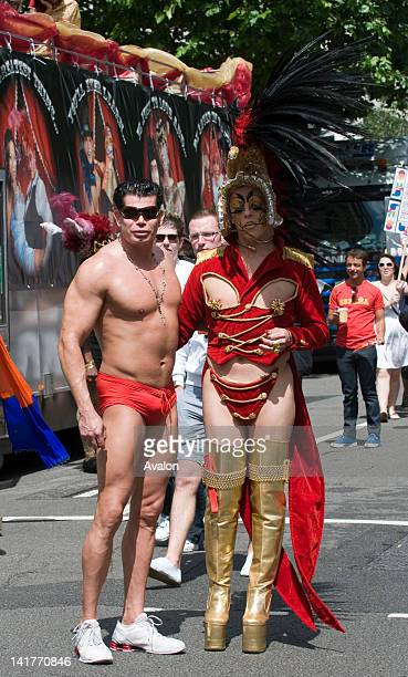 Atmosphere at the London Pride where more than half a million revellers attended the gay and lesbian parade on 5th July 2008