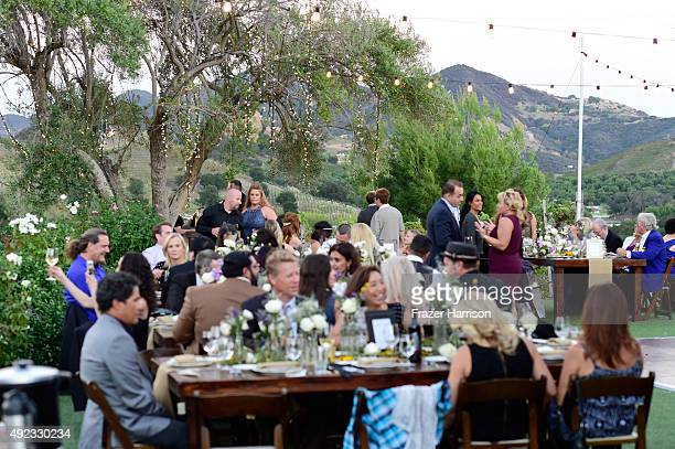 Atmosphere at the McKenzie Westmore and Patrick Tatopoulos marriage at the Chateau Le Dome, Saddlerock Ranch Winery on October 11, 2015 in Malibu,...