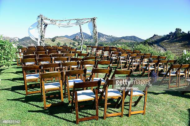 Atmosphere at the McKenzie Westmore and Patrick Tatopoulos marriage at the Chateau Le Dome Saddlerock Ranch Winery on October 11 2015 in Malibu...