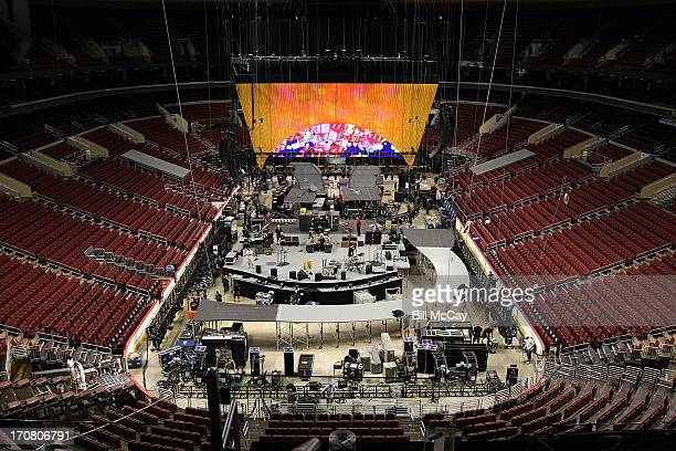 Atmosphere at the Rolling Stones Tour Invites Media To Watch Show Build Up event at the Wells Fargo Center June 18 2013 in Philadelphia Pennsylvania