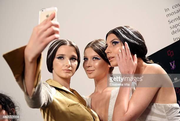 Atmosphere backstage at Sabrina Persechino fashion show as part of AltaRoma AltaModa Fashion Week Fall/Winter 2015/16 at Palazzo Delle Esposizioni on...
